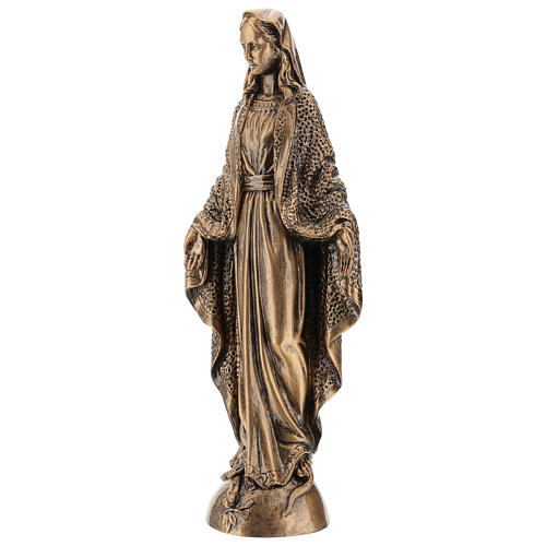 Miraculous Medal statue in bronzed marble powder composite 45 cm, OUTDOOR 3