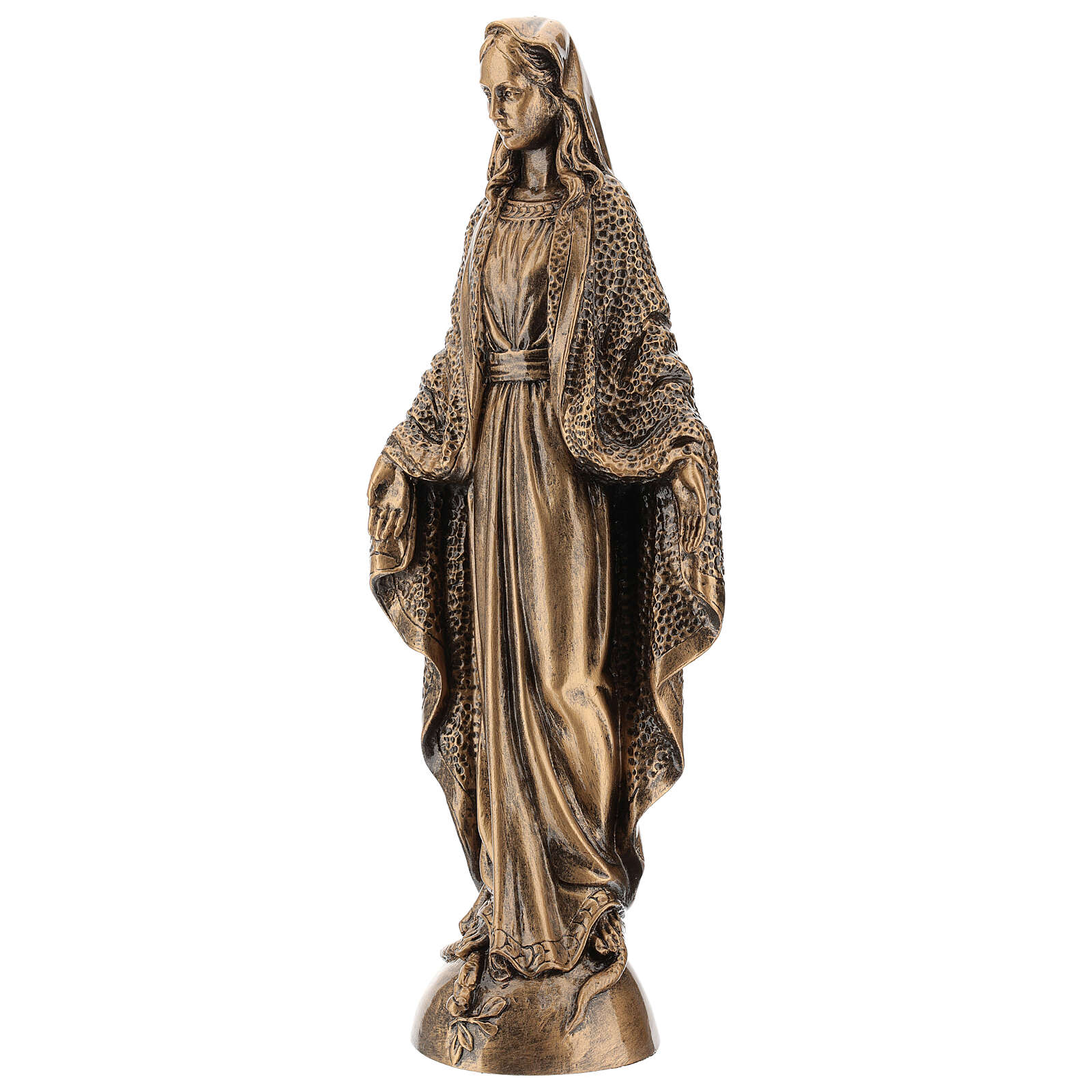 Madonna Miracolosa 45 cm bronzata polvere di marmo PER ESTERNO 4