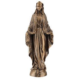 Madonna Miracolosa 45 cm bronzata polvere di marmo PER ESTERNO s1