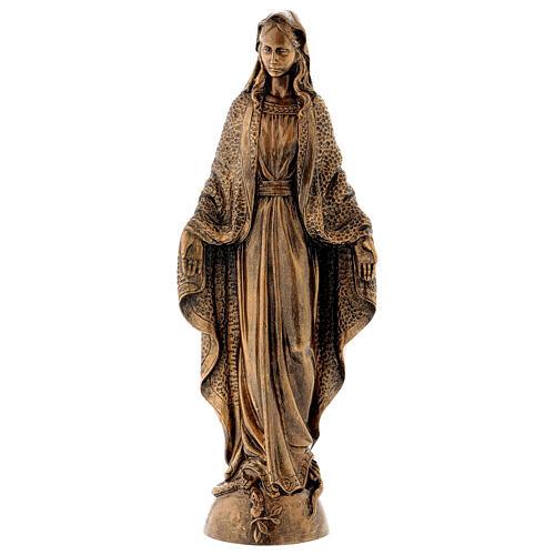 Madonna Miracolosa 45 cm bronzata polvere di marmo PER ESTERNO 1
