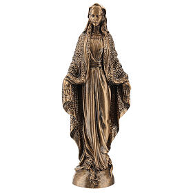 Blessed Mary statue, 45 cm bronzed reconstituted Carrara marble FOR OUTDOORS s1