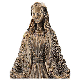 Blessed Mary statue, 45 cm bronzed reconstituted Carrara marble FOR OUTDOORS s2