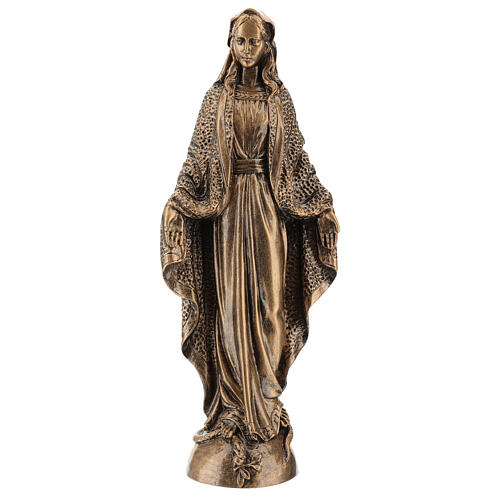 Blessed Mary statue, 45 cm bronzed reconstituted Carrara marble FOR OUTDOORS 1