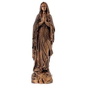 Estatua Virgen Lourdes 50 cm bronceada polvo de mármol PARA EXTERIOR s1