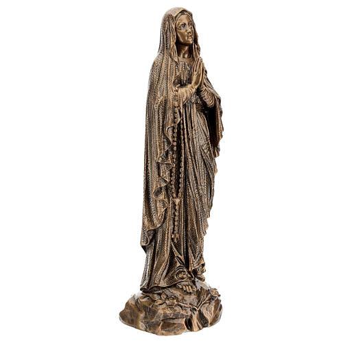 Estatua Virgen Lourdes 50 cm bronceada polvo de mármol PARA EXTERIOR 4