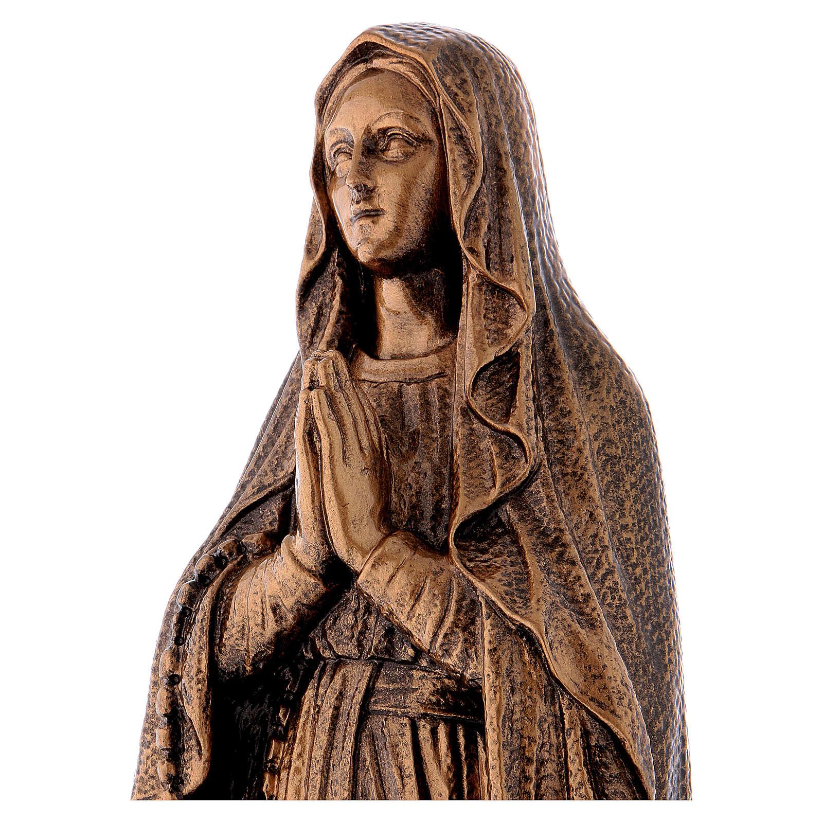 Statua Madonna Lourdes 50 cm bronzata polvere di marmo PER ESTERNO 4