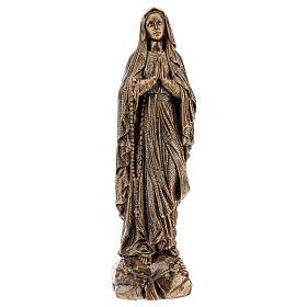 Statua Madonna Lourdes 50 cm bronzata polvere di marmo PER ESTERNO s1