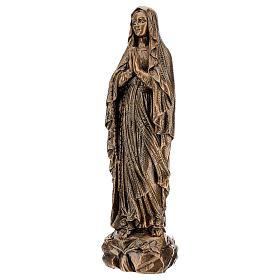 Statua Madonna Lourdes 50 cm bronzata polvere di marmo PER ESTERNO s3