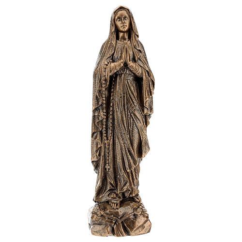 Statua Madonna Lourdes 50 cm bronzata polvere di marmo PER ESTERNO 1