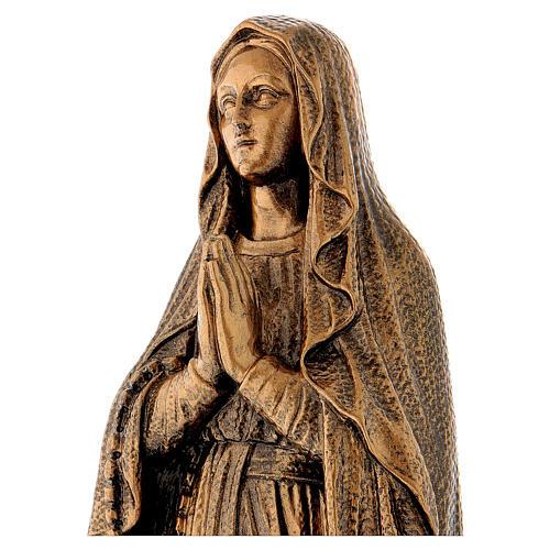 Statua Madonna Lourdes 50 cm bronzata polvere di marmo PER ESTERNO 2