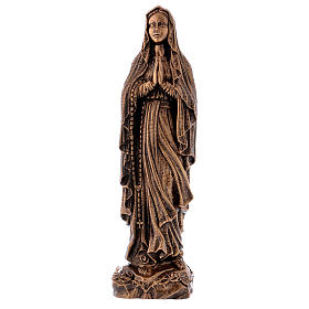 Our Lady of Lourdes statue in bronzed marble powder composite 40 cm, OUTDOOR s1