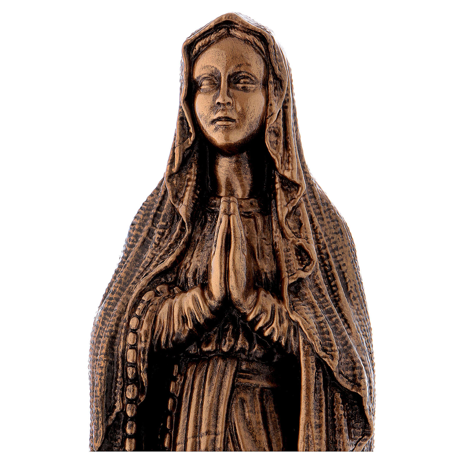 Virgen de Lourdes 40 cm bronceada mármol sintético PARA EXTERIOR 4