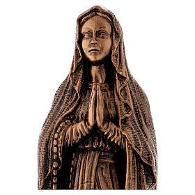 Virgen de Lourdes 40 cm bronceada mármol sintético PARA EXTERIOR s2