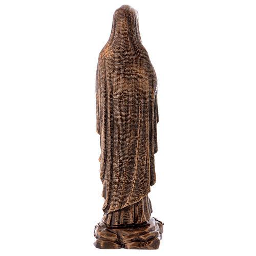 Virgen de Lourdes 40 cm bronceada mármol sintético PARA EXTERIOR 5