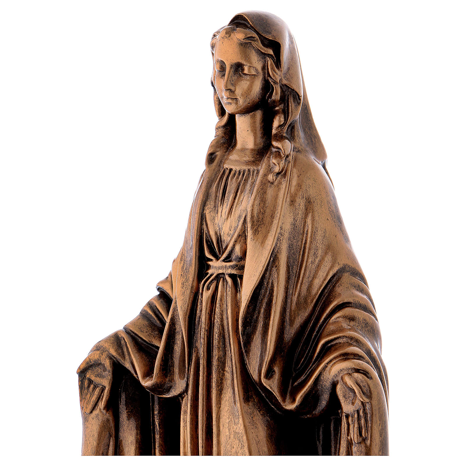 Miraculous Medal statue in bronzed marble powder composite 40 cm, OUTDOOR 4