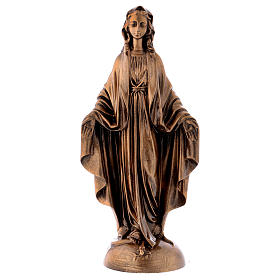 Miraculous Medal statue in bronzed marble powder composite 40 cm, OUTDOOR s1