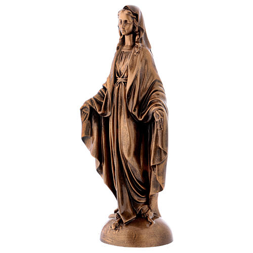 Miraculous Medal statue in bronzed marble powder composite 40 cm, OUTDOOR 3