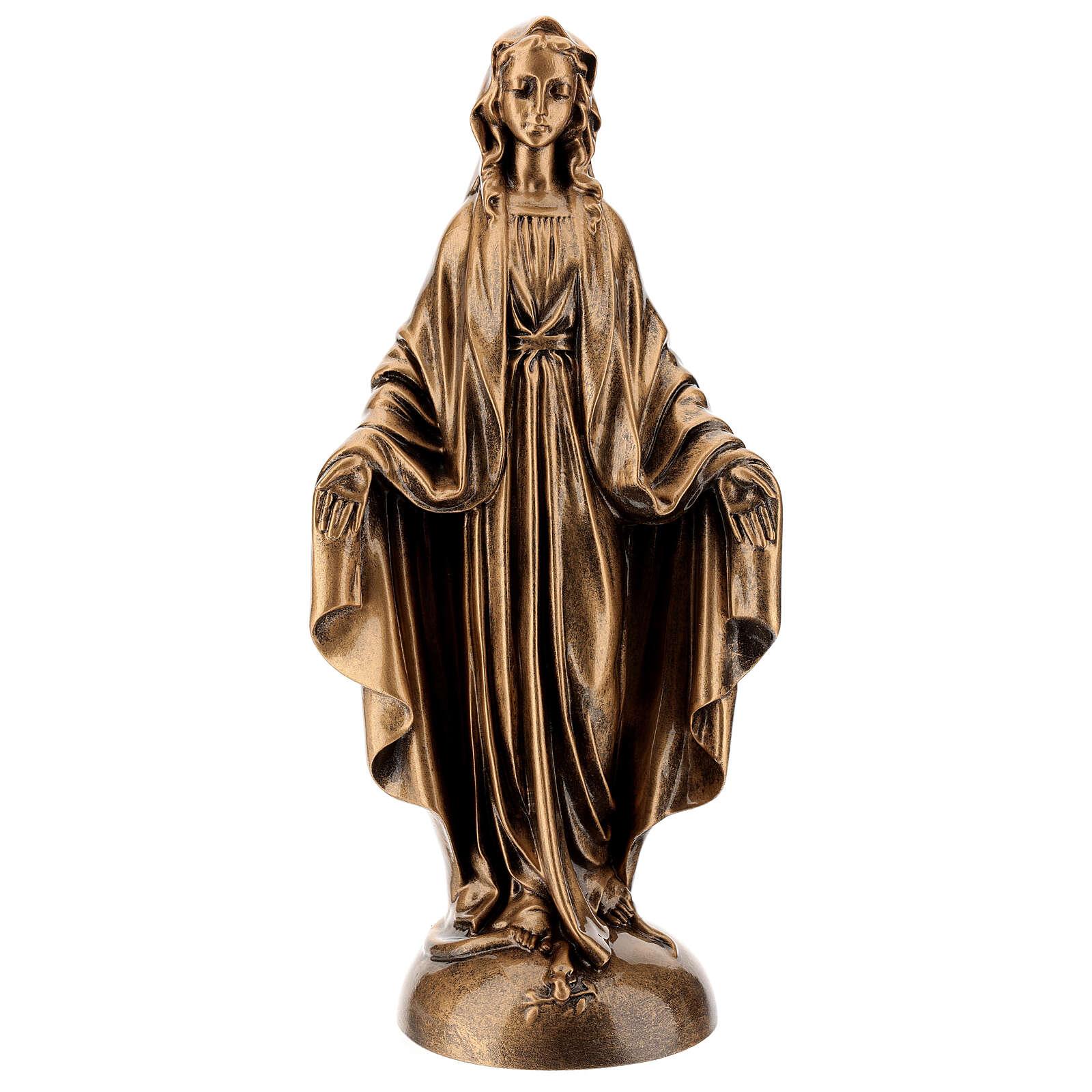 Statua Madonna Miracolosa 40 cm bronzata polvere marmo PER ESTERNO 4