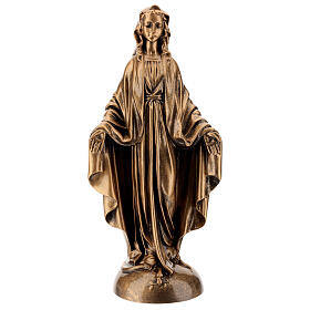 Statua Madonna Miracolosa 40 cm bronzata polvere marmo PER ESTERNO s1
