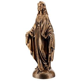 Statua Madonna Miracolosa 40 cm bronzata polvere marmo PER ESTERNO s3