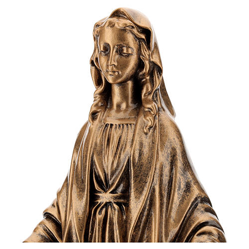Our Lady of Miracles statue, 40 cm bronzed marble dust FOR OUTDOORS 2
