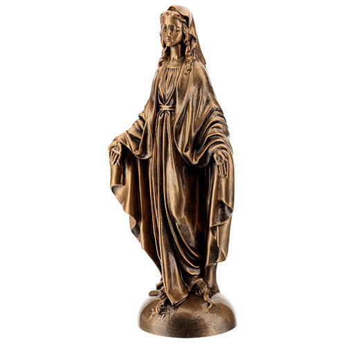 Our Lady of Miracles statue, 40 cm bronzed marble dust FOR OUTDOORS 3