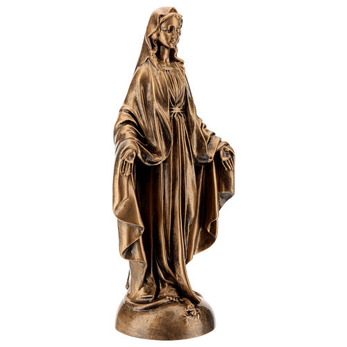 Our Lady of Miracles statue, 40 cm bronzed marble dust FOR OUTDOORS 4