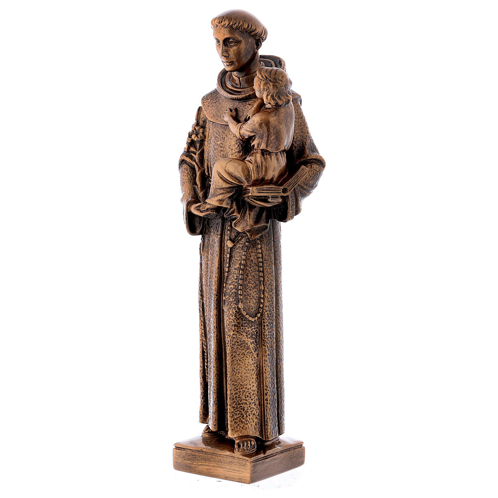 St. Anthony statue in bronzed marble powder composite 40 cm, OUTDOOR 4