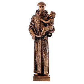 St. Anthony statue in bronzed marble powder composite 40 cm, OUTDOOR s1