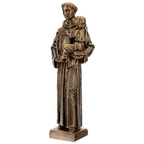 St. Anthony statue in bronzed marble powder composite 40 cm, OUTDOOR s3
