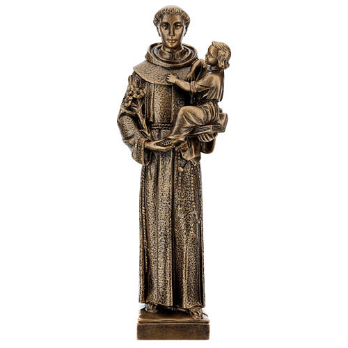 St. Anthony statue in bronzed marble powder composite 40 cm, OUTDOOR 1
