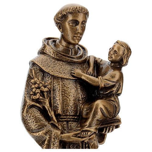 St. Anthony statue in bronzed marble powder composite 40 cm, OUTDOOR 2