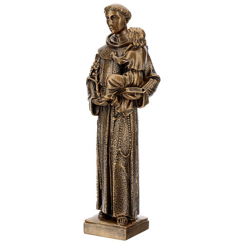 St. Anthony statue in bronzed marble powder composite 40 cm, OUTDOOR 3