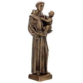 Sant'Antonio da Padova 40 cm bronzato marmo sintetico PER ESTERNO s4