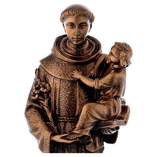 Sant'Antonio da Padova 40 cm bronzato marmo sintetico PER ESTERNO 2