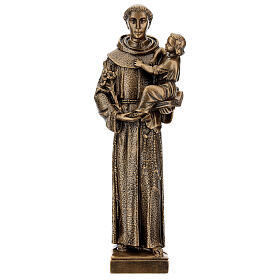 St Anthony of Padua statue, 40 cm bronzed synthetic marble FOR OUTDOORS s1
