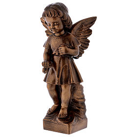 Angel with flowers statue in bronzed marble powder composite 48 cm, OUTDOOR s3