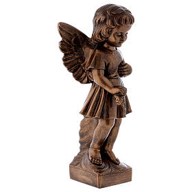 Angel with flowers statue in bronzed marble powder composite 48 cm, OUTDOOR s4