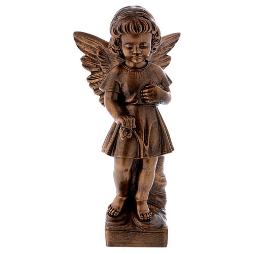 Angel with flowers statue in bronzed marble powder composite 48 cm, OUTDOOR 1
