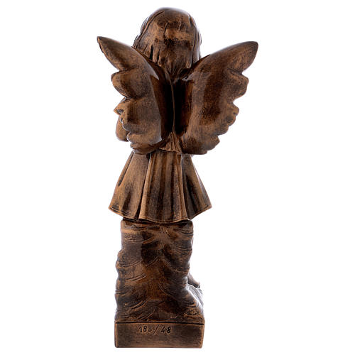 Angel with flowers statue in bronzed marble powder composite 48 cm, OUTDOOR 5