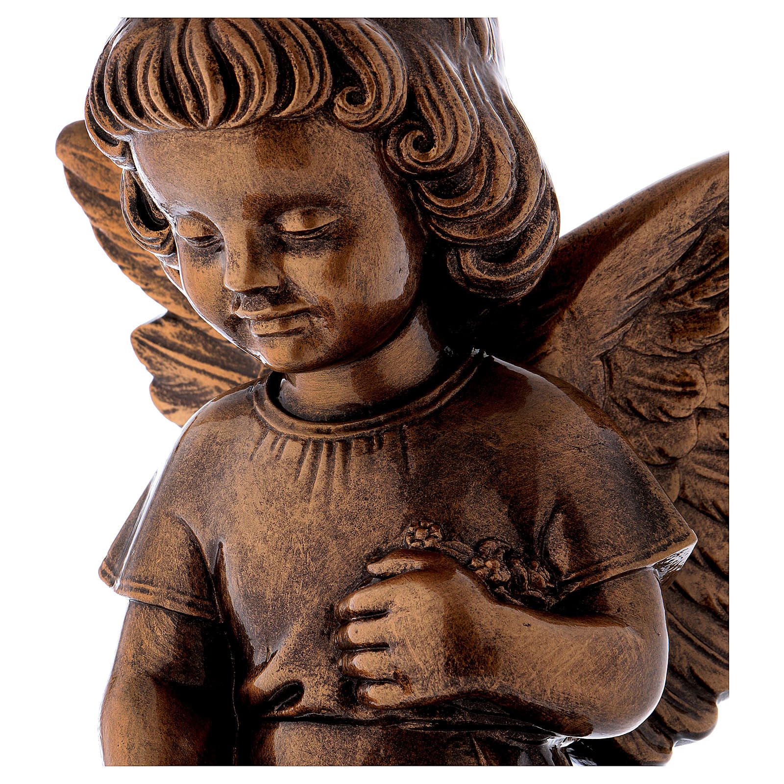 Little flower angel statue, 48 cm bronzed marble dust FOR OUTDOORS 4