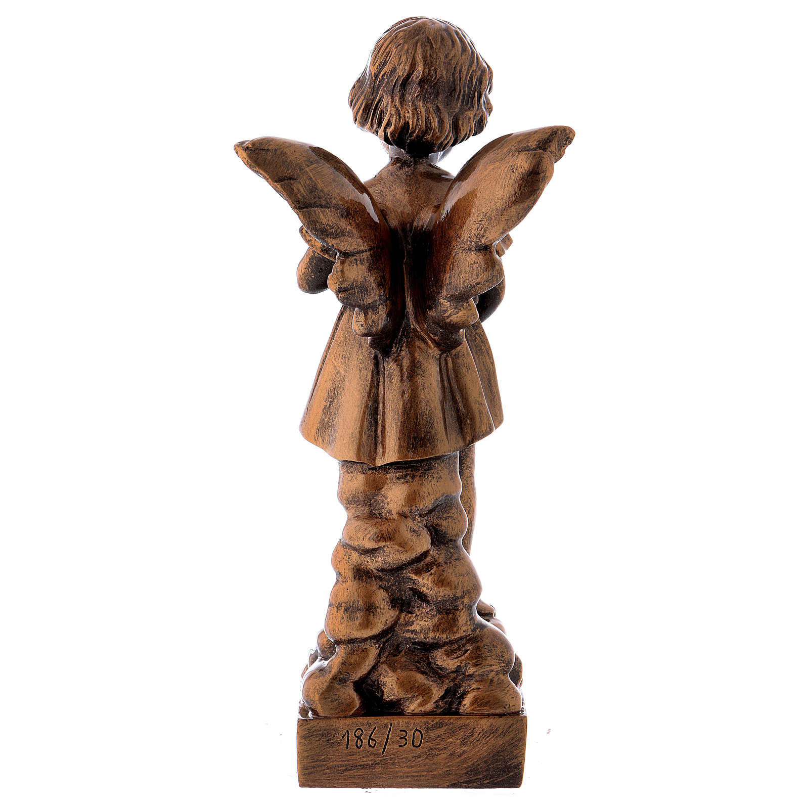 Angel with flowers statue in bronzed marble powder composite 30 cm, OUTDOOR 4