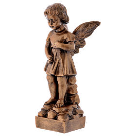 Angel with flowers statue in bronzed marble powder composite 30 cm, OUTDOOR s3