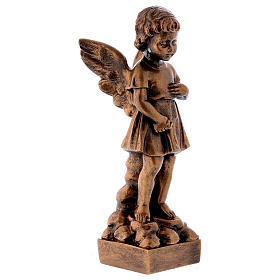 Angel with flowers statue in bronzed marble powder composite 30 cm, OUTDOOR s4