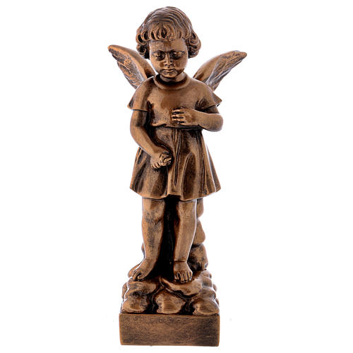 Angel with flowers statue in bronzed marble powder composite 30 cm, OUTDOOR 1