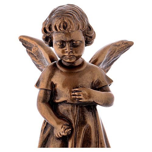 Angel with flowers statue in bronzed marble powder composite 30 cm, OUTDOOR 2