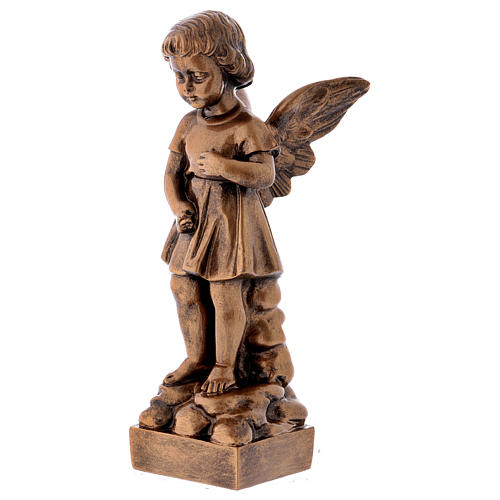 Angel with flowers statue in bronzed marble powder composite 30 cm, OUTDOOR 3