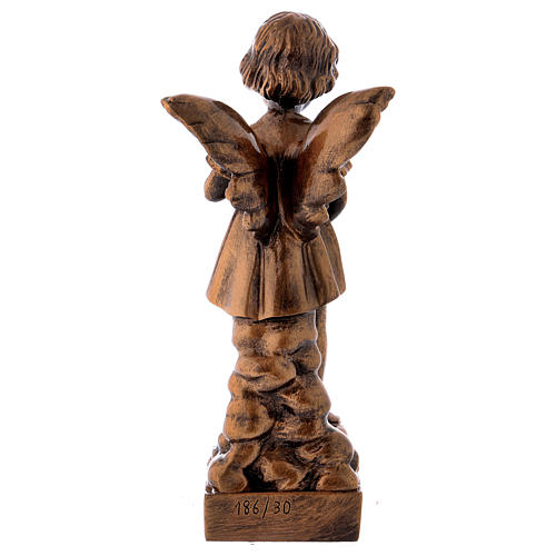 Angel with flowers statue in bronzed marble powder composite 30 cm, OUTDOOR 5