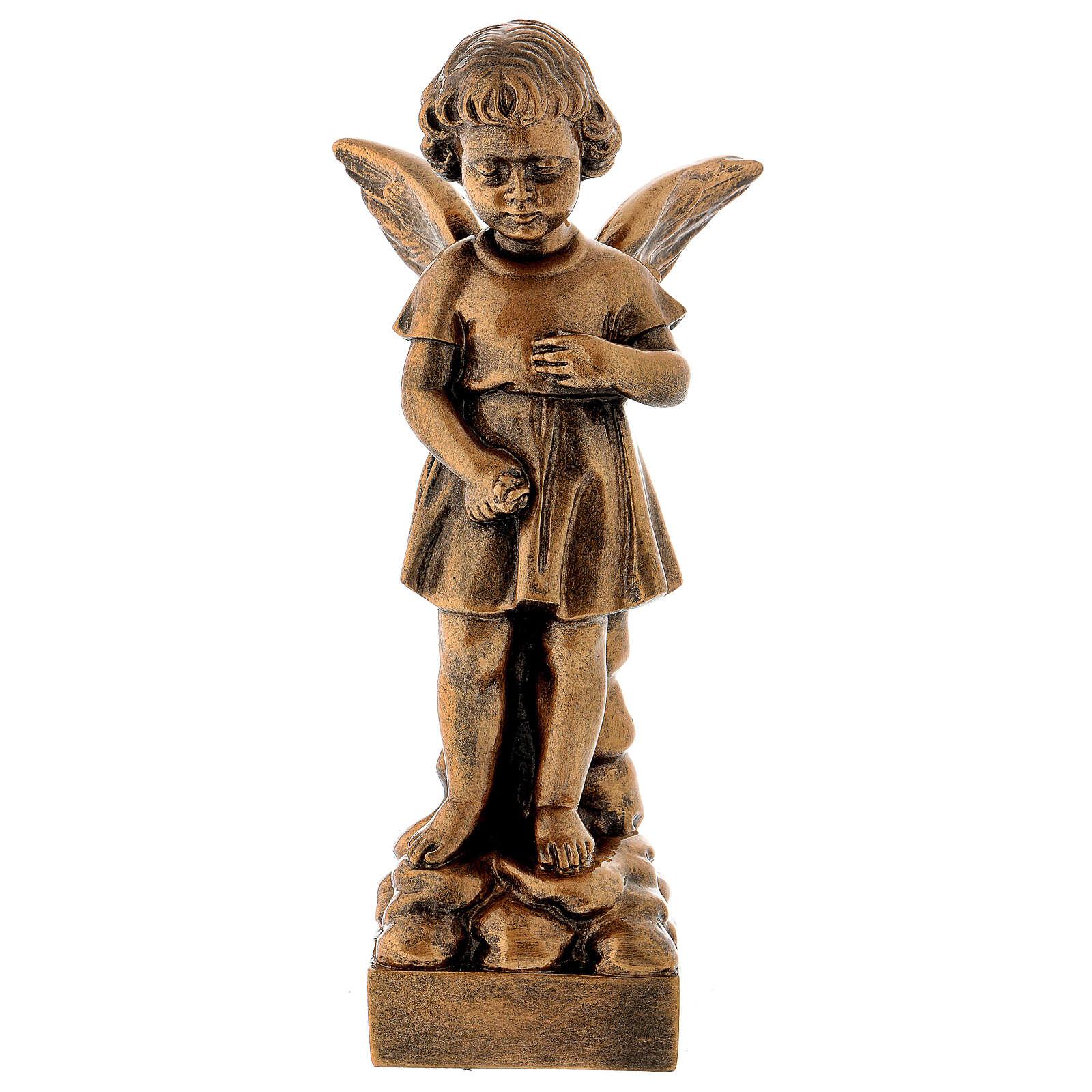 Gettafiori angioletto 30 cm bronzato marmo sintetico PER ESTERNO 4