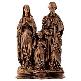 Sacra Famiglia 40 cm bronzata polvere di marmo PER ESTERNO s1